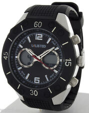 Unlisted by Kenneth Cole Men's Black Rubber Digital Analog Watch UL1159