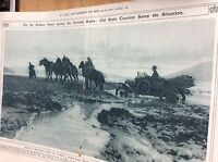 t1-9 ephemera ww1 1916 picture officers car stuck in mud balkans folded staple