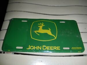 John Deere Logo Green Background Embossed Metal Novelty License Plate NIP