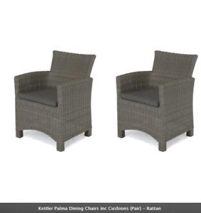 Kettler Palma Dining Chairs inc Cushions (Pair) - Rattan