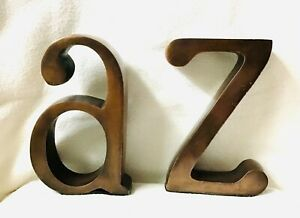 Vintage Bronzed Look Metal Bookends lower case A and Z Made in India