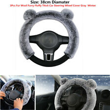 3xAuto Car Steering Wheel Cover Gray Winter Fur Wool Furry Fluffy Thick Comfort