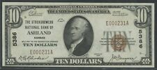 "FR1800-1 $10 1929 FRBN CHOICE UNC ""ASHLAND, KANSAS"" ONLY 5 RECORDED WLM6336"