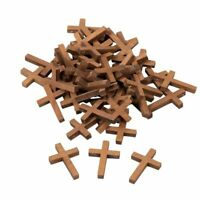 """50 Wood Cross Pendants, 1.2""""x 1.75"""" Mini Cross Charms for Religious Party Favors"""