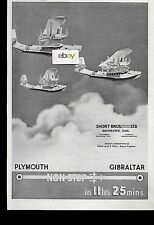 SHORT BROS LTD SHORT 1935 SINGAPORE FLYING BOATS PLYMOUTH TO GIBRALTAR 11HRS AD