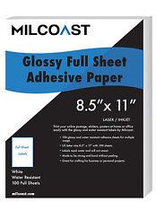"Milcoast Full Sheet 8.5"" x 11"" Shipping Sticker Labels Glossy (100 Sheet)"