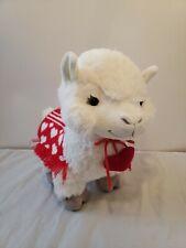 Hallmark Plush Love Llama Heart Red Knit Saddle Blanket Collar Stuffed Animal