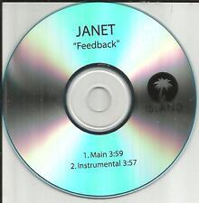 JANET JACKSON Feedback 2TRX w/ INSTRUMENTAL TST PRESS PROMO DJ CD Single 2008