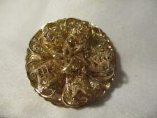 "WESTERN  GERMANY Vintage 1950's Goldtone  3D Filigree Round Scarf Clip 1 1/2"""