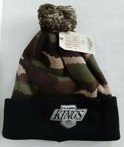 Los Angeles LA Kings NHL AMERICAN NEEDLE GREEN CAMO CUFF POM BEANIE Hat Cap