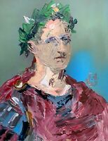 Abstract Portrait Julius Caesar Roman Impasto Acrylic Art Original Painting 14""