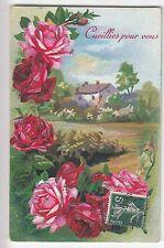 CPA  FANTAISIE FLEUR FLOWER -  CUEILLIES POUR VOUS ROSE MAISON DECOR 1911 ~B62