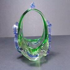 Elegant Murano Blue & Green Glass Basket Decorative Piece