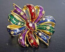 Bow Pin Brooch With Rhinestones Joan Rivers Multi Color Enamel