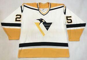 Vintage CCM Pittsburgh Penguins STEVEN #25 NHL Hockey Jersey Man L White Canada