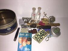 Antique Junk Drawer Lot- Wood Handle Tools, Glass Doorknobs, Pepsi, Lighter More