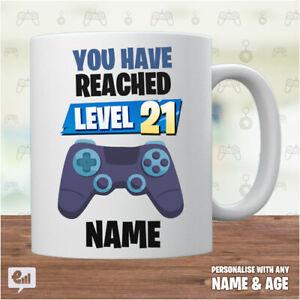 GAMER Birthday Gift - Personalised Mug - Add NAME / AGE - Video Game Kids banner