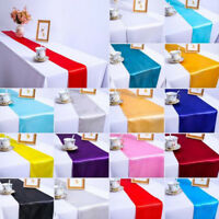 "12""x108"" Satin Table Runner Sewed Edge Wedding Party Banquet Reception Decor"