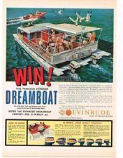 1959 EVINRUDE Dreamboat Houseboat art VTG PRINT AD