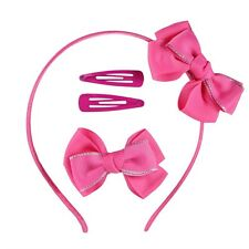 childrens hair band bow and sleepies set in pink