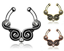 Septum Fake Ring Nasenring Nasenpiercing Nase Vintage Swirl 1 Stück - Set