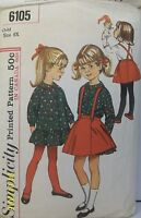 Vtg Simplicity Sewing Pattern 6105 Dress Skirt w/ Suspenders Child Size 6X Used