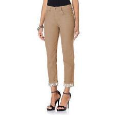 DG2 by DIANE GILMAN Striped Cuff Skinny Jeans Beige Size 12