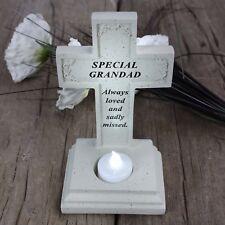 David Fischhoff Grave Memorial Cross Flickering Tealight Special Grandad 462