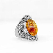 Vintage Simply Oval Amber Jewelry Dangle Earrings