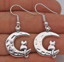 925 Silver Plated Hook -1.7'' The New Moon & Kitten Club Jewelry Earrings #61