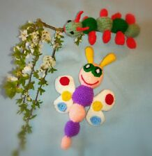 Butterfly & Catapiller - Hand Knitted Soft Toy - New Custom Crafted