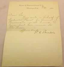 Theodore Elijah Burton HOUSE OF REPRESENTATIVES 1890 Ohio SIGNED Note