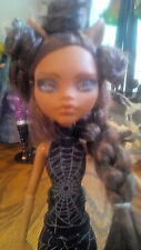 Ooak Monster High Clawdeen Wolf Repaint~Handmade Spiderweb Outfit