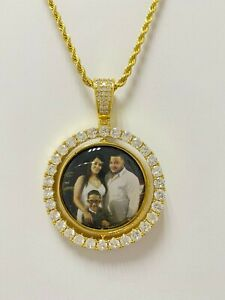 "14K GP YELLOW GOLD FINISH SPINNING DOUBLE PICTURE PENDANT  WITH 20"" ROPE  CHAIN"
