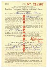 Nice 1948 State of Colorado Fishing & Small Game Hunting License