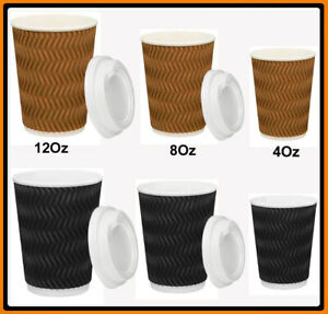 Coffee Cups 4oz 8oz 12oz Takeaway Paper Ripple Wall Take Away Bulk AU Stock