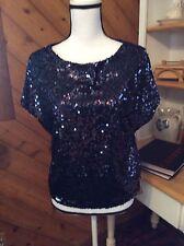 New $54 JLO Jennifer Lopez SEQUIN Navy Blue TOP Shirt size XS