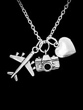 Camera Airplane Necklace Heart Photography World Travel Christmas Gift Charm
