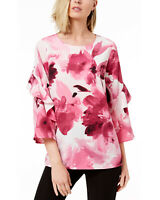 Alfani Womens Printed Ruffle Sleeve Zip-Back Top Large Berry Floral