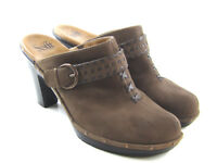 Sofft Brown Nubuck Leather Studded Buckle Clogs Mules Women's US 10M 1060800