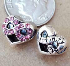 Love Forever Infinity Heart Pink CZ Rhinestone Bead fit European Charm Bracelet