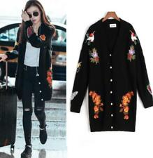Women's Loose Embroidery Floral Knitting Parka Sweater Outwear Cardigan Coat