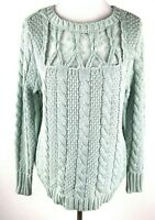 New Lauren Conrad Pullover Sweater Womens L Mint Lace Crew Neck Cable Knit $54