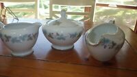 Sugar Bowl Creamer Gravy Boat Vintage by Fine China of Japan 1967 4 pc Hostess