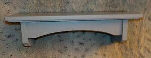 "Stone gray painted wood wall shelf, 4 1/2"" x 12"", plate groove, 3 5/8"" high"