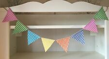 Bunting - Mixed Bright Gingham Colour Fun  Child Party Decor String & Fabric 6ft