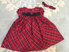 Gymboree Merry Occasions Red Black White Plaid Silk Holiday Dress Headband 12 M