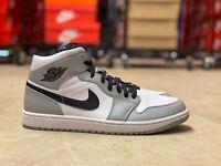 Nike Air Jordan 1 Mid Mens Shoes Light Smoke Grey Black White 554724-092 Multi