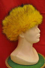 GOLD Winter Ladies Faux Fur Hat GOLD Yellow  Russian Style Cossack