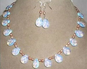New Pink pearl & opal necklace & earring set 17.5""